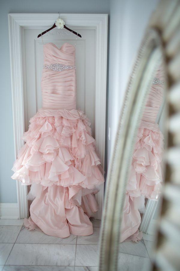 Real Image Blush Pink Sweetheart Tiered Layered Organza