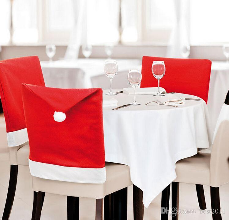 holiday decorative chair covers stackable office chairs with wheels santa claus clause hat dinner cap for christmas xmas decorations home party festive red