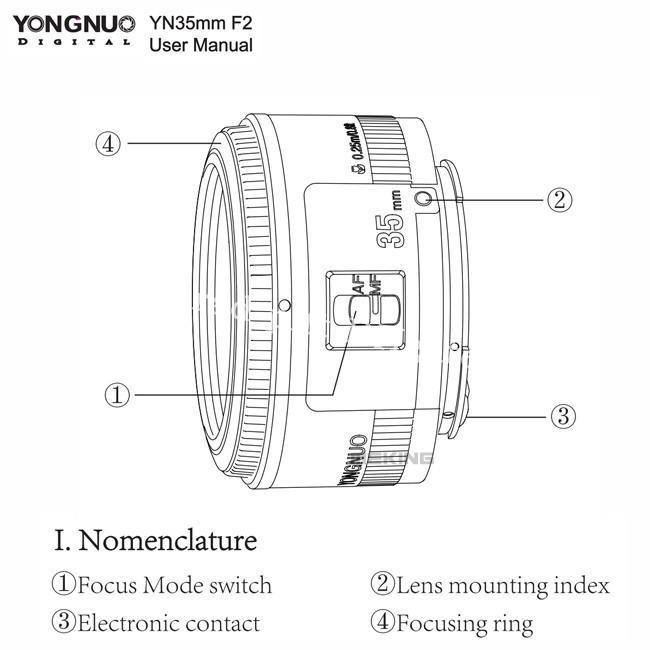 2019 New Yongnuo 35mm Lens YN35mm F2 Lens Wide Angle Large