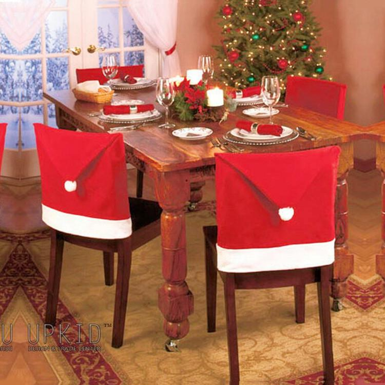 luxury christmas chair covers chevron office santa claus clause hat dinner cap sets for xmas decorations home party holiday festive red online with 1 99 piece on