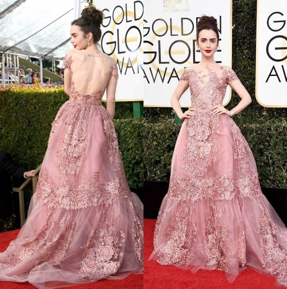Roter Teppich Golden Globes 2018 New Golden Globe Awards Lily Collins Zuhair Murad Celebrity Abendkleider Sheer Backless Pink Spitze Appliqued Roter Teppich Kleider 136