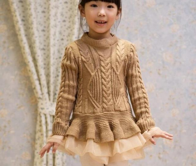 Autumn And Winter Girls Sweater Dresses Soft Knitted Sweater With Lace Tutu Dresses Princess Jumpersuit Pullover Casual Crochet Dress From