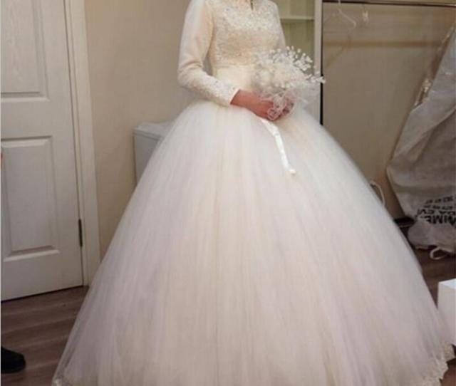 Vestidos De Novia Lace Ball Gown Muslim Wedding Dress With Hijab  Long Sleeves High Neck Appliques Court Train Bridal Dresses Gowns Discount Wedding