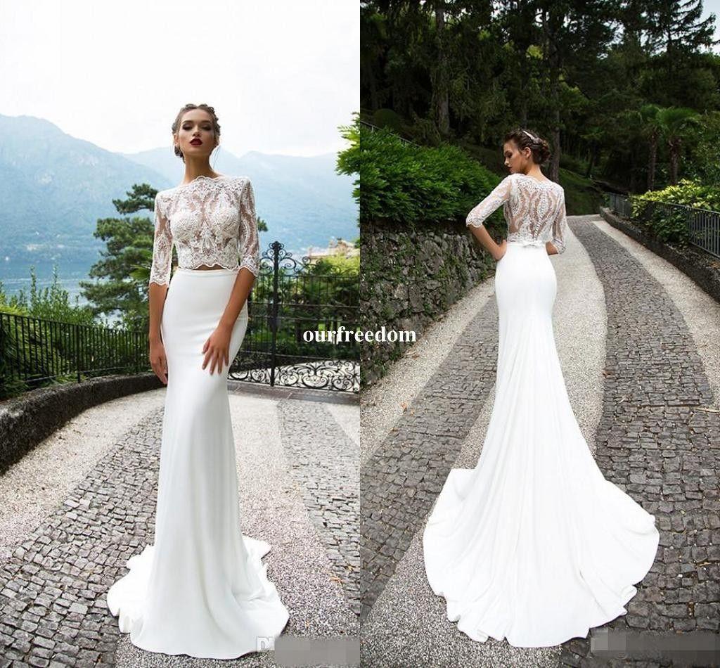 2018 Milla Nova Lace Two Pieces Wedding Dresses With Half