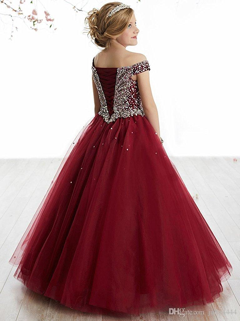 Burgundy Little Girl S Pageant Dresses Birthday Party 2018