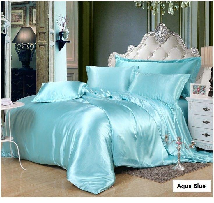 aqua silk bedding set