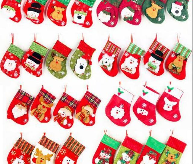 Christmas Socks Non Woven Cloth Flannel Small Christmas Stockings Santa Claus Christmas Elk Snowman And Other Gift Decorations Free Sh Shop Christmas