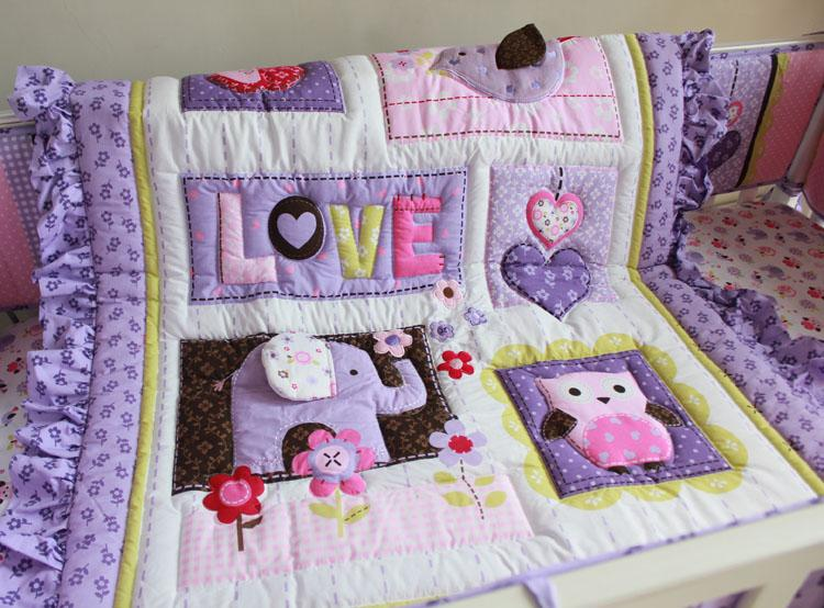 Baby Bedding Set Purple 3D Embroidery Elephant Owl Baby Crib Bedding Set 100 Cotton Include