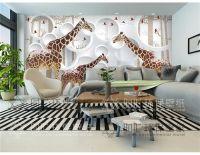 Unique 3D View Giraffe Photo Wallpaper Cute Animal Wall ...