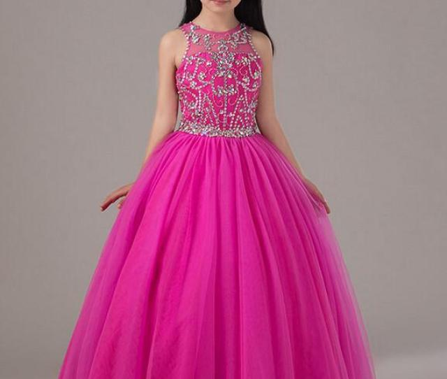 Hot Pink Beaded Pageant Dress For Little Girls Full Skirt Long Tulle Kids Party Gown Birthday Dress Custom Made Styles Of Gowns Toddler Girls Easter Dresses
