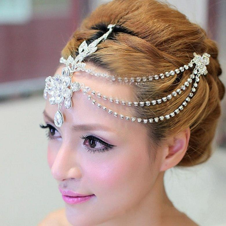 2017 gourgeous bridal hair accessories pearls metal bohemian hair band vintage wedding tiaras chains wedding jewelry sets baby hair accessories from