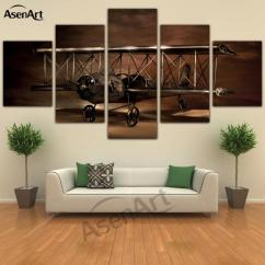 Modern Artwork For Living Room Gaming Pc Reddit 5 Panel Painting Airplane Aircraft Model Biplane Wall Art Canvas Prints Pictures Framed Dropshipping Canada 2019 From