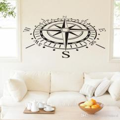 Images Of Living Room Wall Decor Dark Tile Floor Ocean Navigation Compass Decals Removable Vinyl Art Stickers Home For Tv Background Canada 2019 From Moderndecal