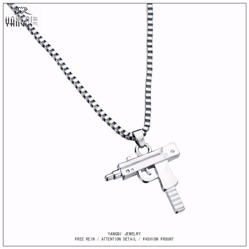 Wholesale Hip Hop Jewelry Letter Gun Necklace Silver Gold