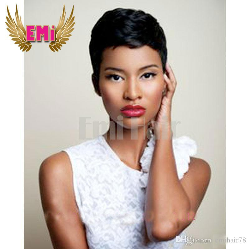 Lace Front Full Lace Rihanna Chic Pixie Cut Short Human Hair Wigs