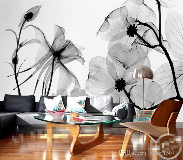 black and white wallpaper ideas for living room transitional style flower 3d abstract photo mural wallcoverings wallpapers murals wall paper roll bedroom decor custom any size online