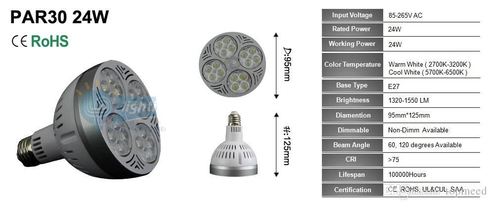 High Power Par30 Spotlight 24w 35w Led Bulb Light Par 30