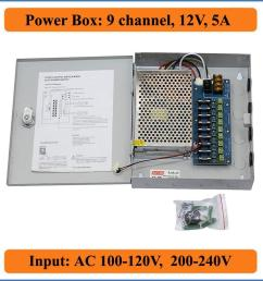9ch port dc12v 5a cctv camera power box adapter switching power supply box distribution 9 channels input ac 100 240v to dc 12v power outlet with switch  [ 1000 x 1000 Pixel ]