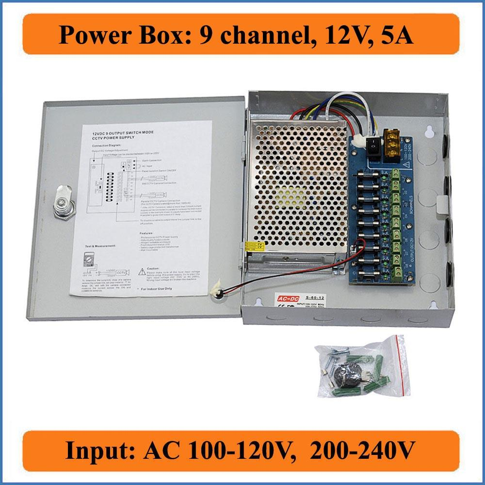 medium resolution of 9ch port dc12v 5a cctv camera power box adapter switching power supply box distribution 9 channels input ac 100 240v to dc 12v power outlet with switch
