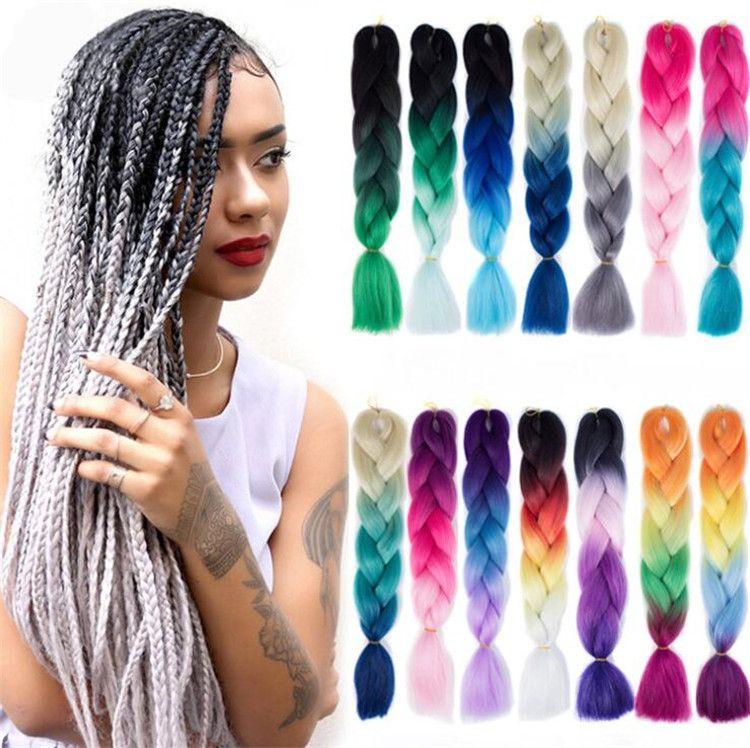 ZampF Jumbo Braid Hair Ombre Two Three Colors Hair 24 Inch