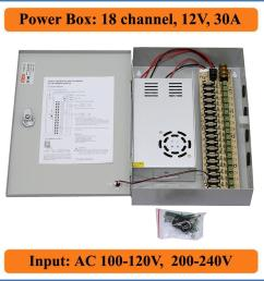 18 channels dc12v 30a cctv camera power box ir illuminator control for dvr cctv cameras switching power supply box 18ch port 30a switch electricity provider  [ 1000 x 1000 Pixel ]