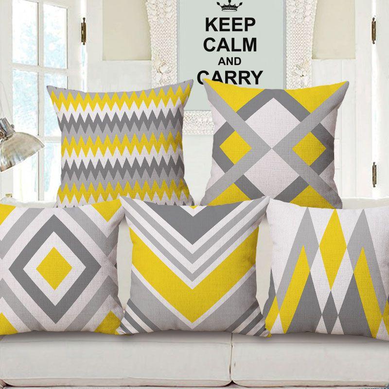 acheter jaune gris geometrique art housse de coussin chevron stripes plaids montagne rhombus coussin couvre canape decoratif lin taie d oreiller en coton de