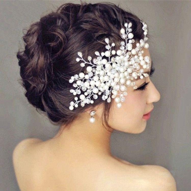 bridal hair accessories bride married korean flower head flower handmade crystal beaded headdress married pearl comb flower hair pieces flowers for hair