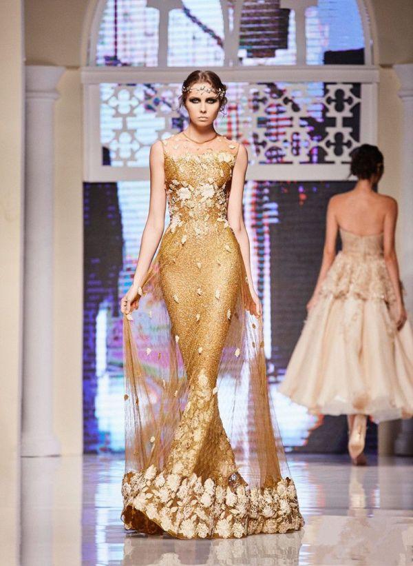 2017 Elie Saab Gold Dresses Evening Wear Sequined Mermaid