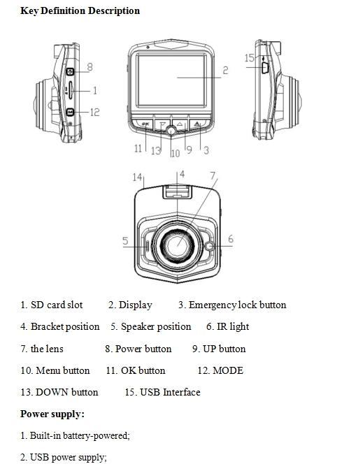 2.4 Inch Novatek Dashcam Car DVR PZ911 IR Lights Support