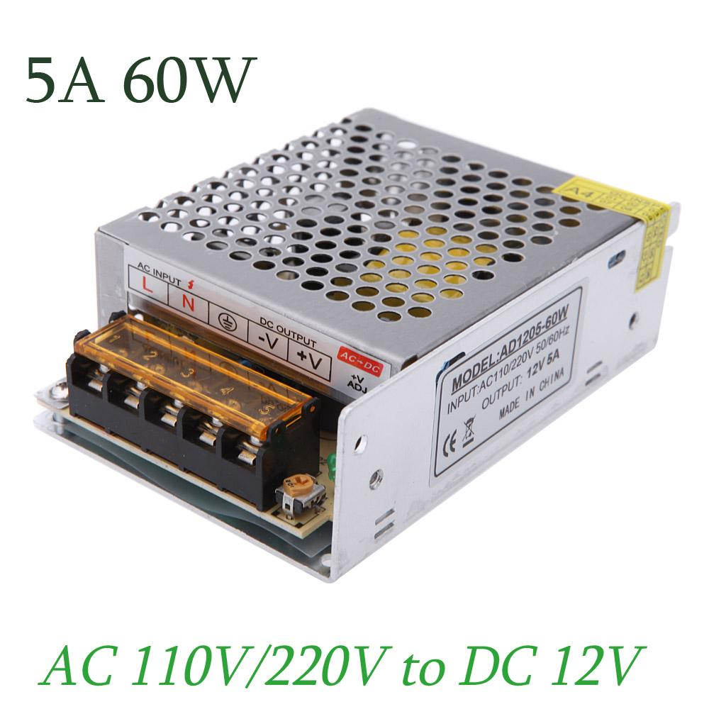 hight resolution of 2019 ac 110v 220v to dc 12v 5a 60w variable voltage converter short circuit protection led strip billboard switching power supply from best2011