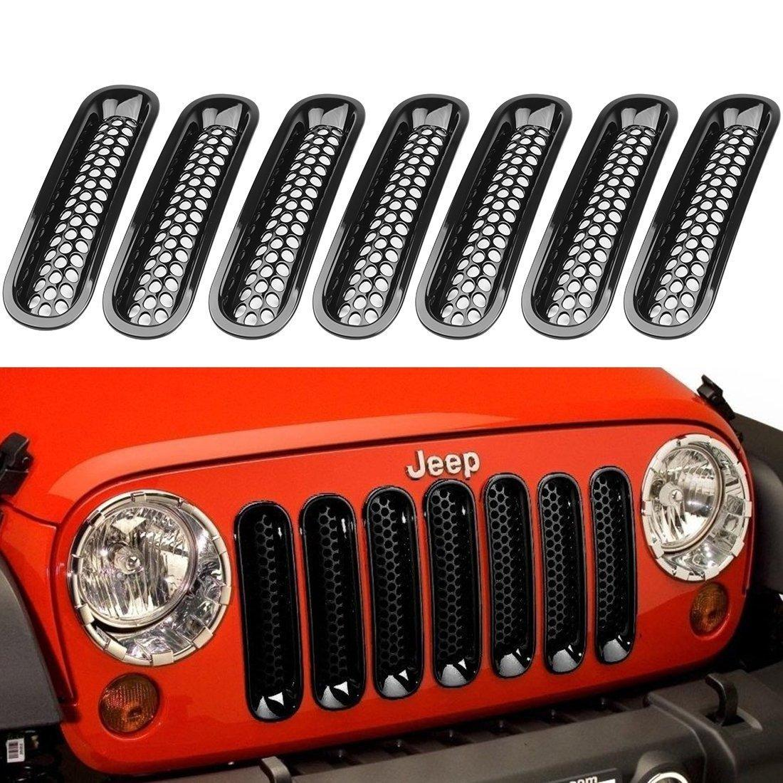 hight resolution of 2019 black front grill mesh grille insert kit for jeep wrangle rubicon sahara jk 2007 2015 from spotlights 109 55 dhgate com
