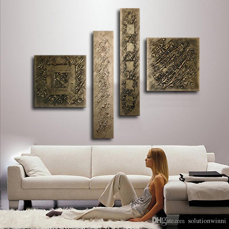 wall art sets for living room ashley furniture sale 4 panel pictures hand painted bronze color oil painting on canvas modern home abstract paintings poster picture decorative