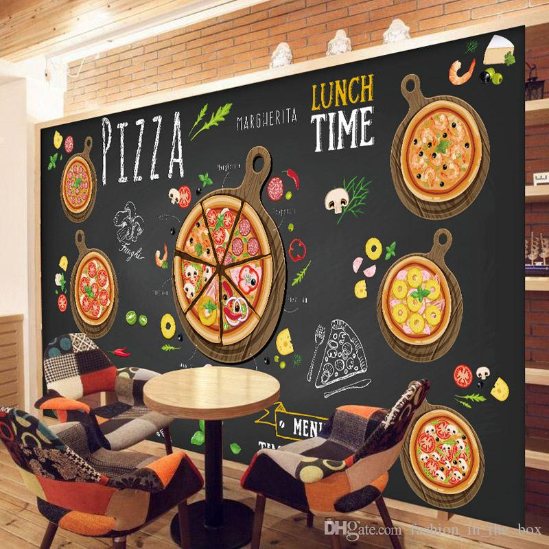cafe themed kitchen decor granite composite sinks custom 3d wallpaper for walls pizza shop wall mural ...