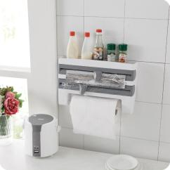 Dispenser Kitchen Clr Bath And Cleaner 4 In 1 Wall Mount Paper Triple Cling Film Wrap Aluminium Foil Roll Holder Commercial Gadgets Cook From