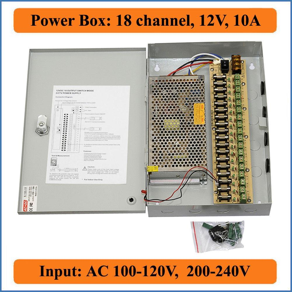 medium resolution of 18 channels dc12v 10a cctv cameras power box security video cameras wall hang box switching power supply 18ch port 10a electrical outlets with switches