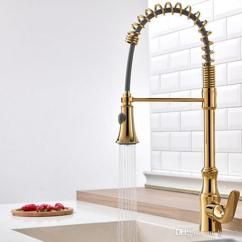 Brass Kitchen Sink Artwork 2019 Rozinsanitary Gold Basin Faucet Pull Out Down Swivel Spout Single Handle Mixer Tap Deck Mounted From Homebathic7 221 1 Dhgate