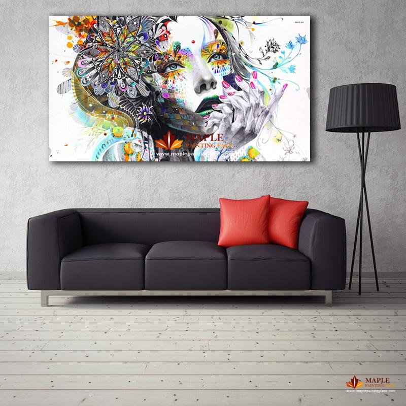 large canvas art for living room wall decorating ideas 2019 painting modern girl with flowers oil printed on pictures home decor from canvasartstore
