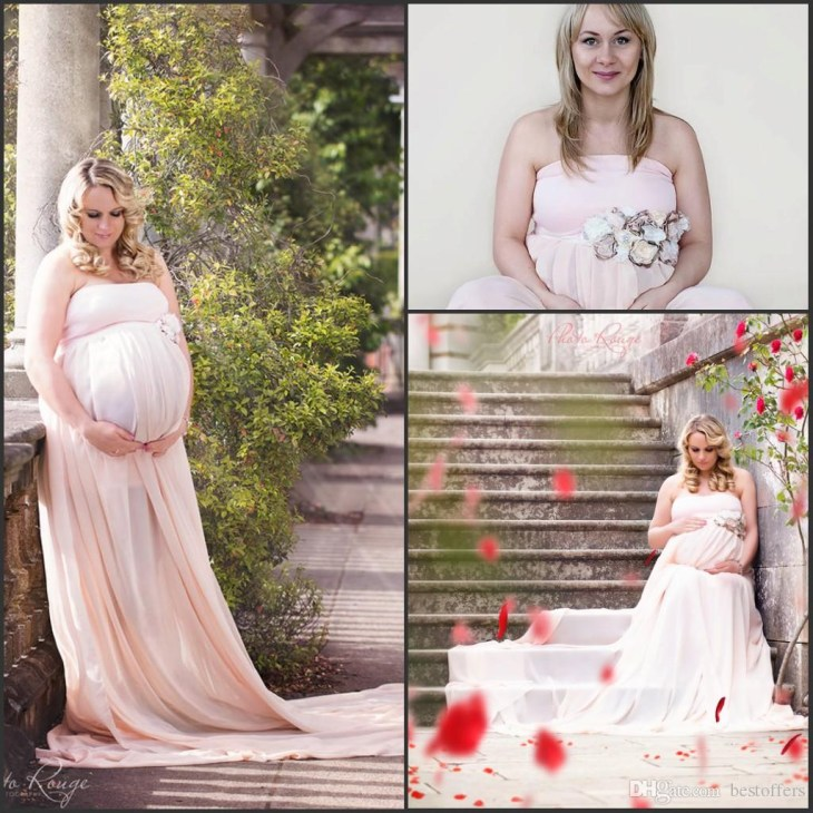 Pregnant Women Baby Shower Dresses 2018 Strapless A Line Plus Size Summer  Chiffon Formal Long Evening Dresses With Hand Made Flower Buy Evening  Dresses ...