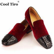 Burgundy Velvet Dress Shoes Men
