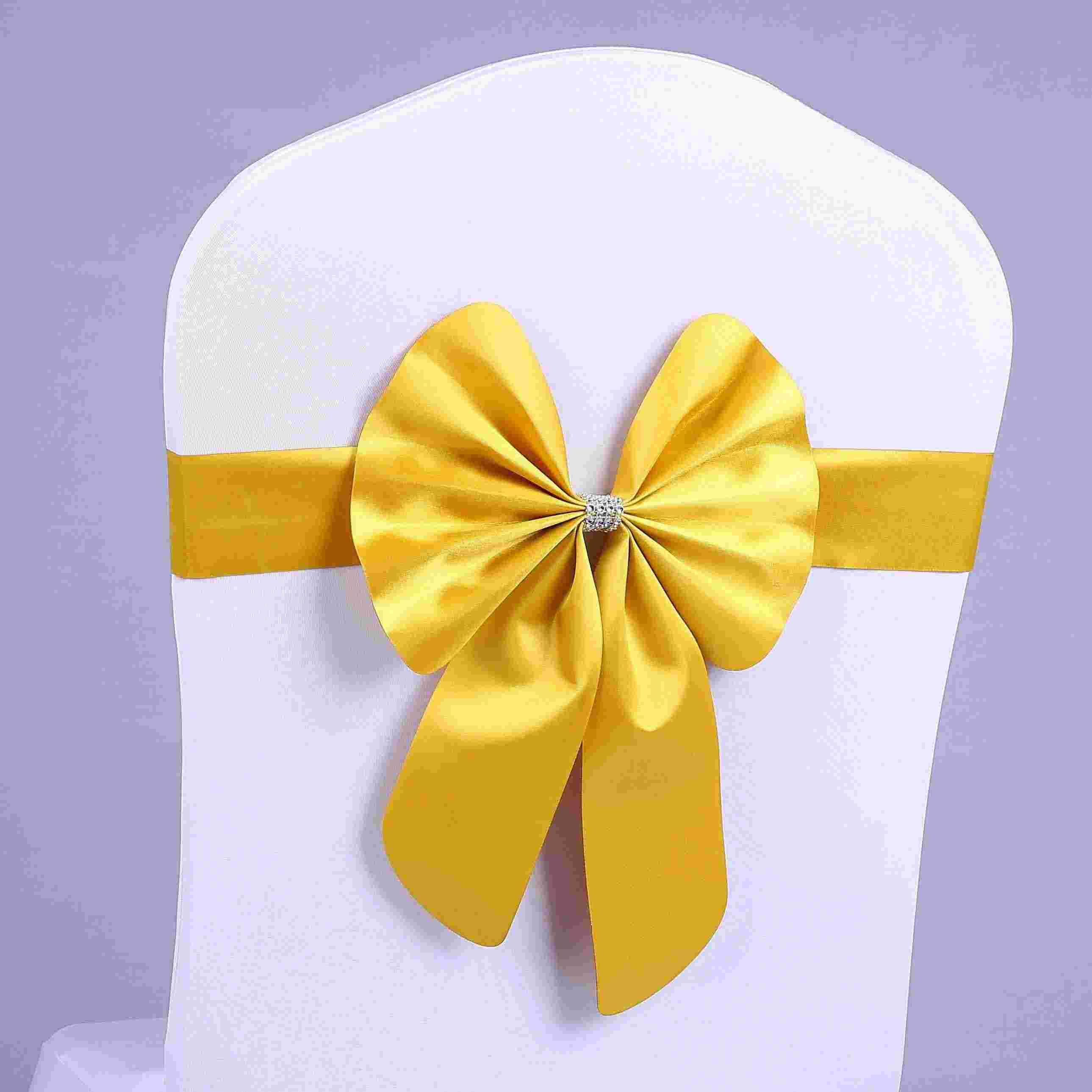 Yellow Chair Covers 10 Colors Stretch Bowknots Chair Sashes For Wedding Chairs Back Decorations Elastic Bows For Hotel Chair Cover Decorative Bands With Bukle