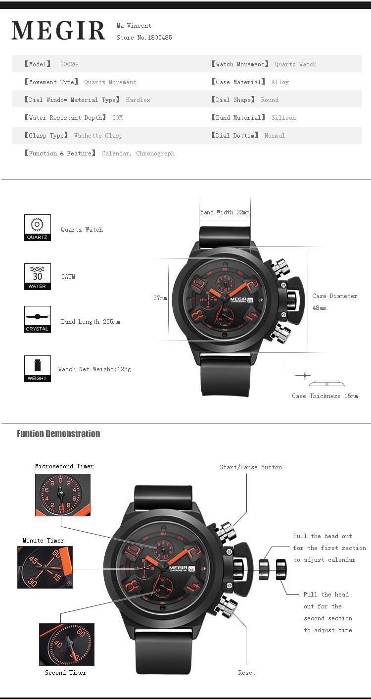 Luxury MEGIR Mens Watches Silicone Strap Quartz Watches