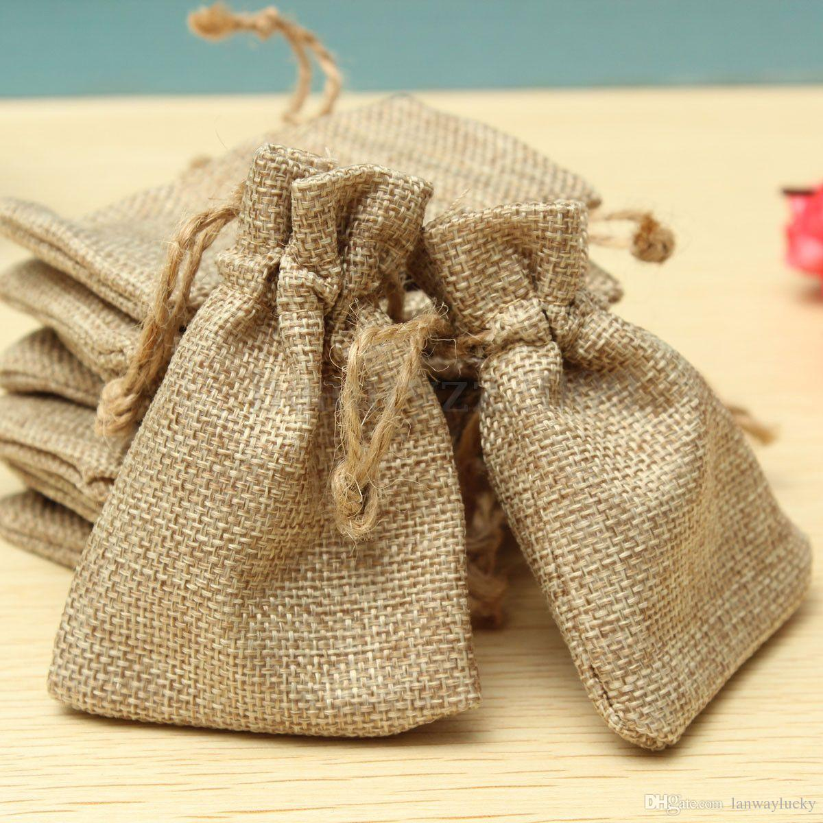Small Drawstring Linen Jewellery Pouch Rings Beads Watch