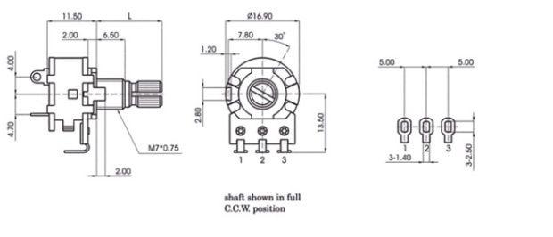2018 Switch Potentiometer B504 B500K Lamp Dimmer Switch