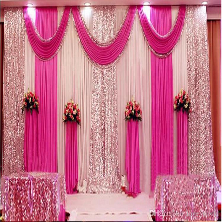 A Set 3x6m Luxury Wedding Background Gauze Curtain