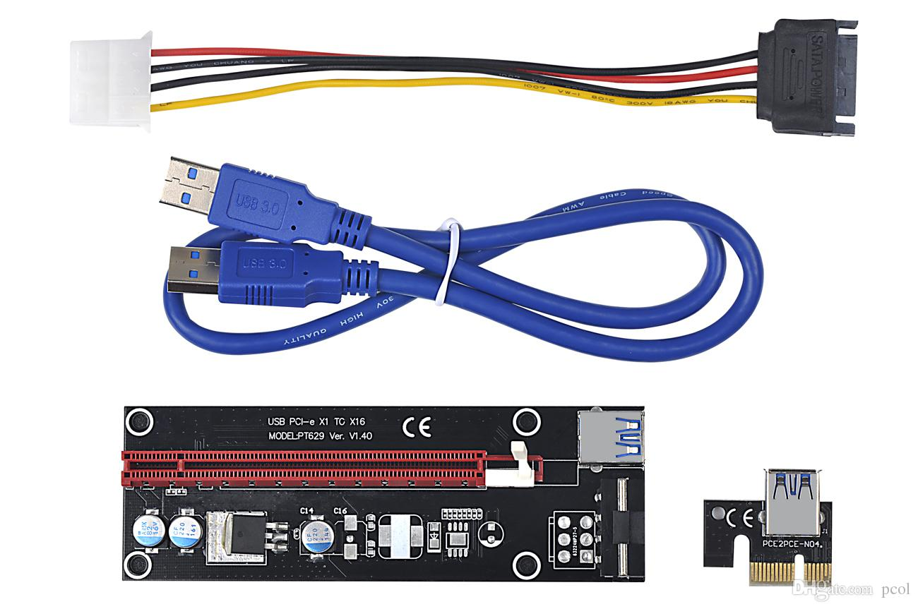 hight resolution of pci express x1 to x16 extender cable with big 4pin power supply and usb 60cm pcie 1x to 16x riser card adapter for bitcoin mining computer wires and