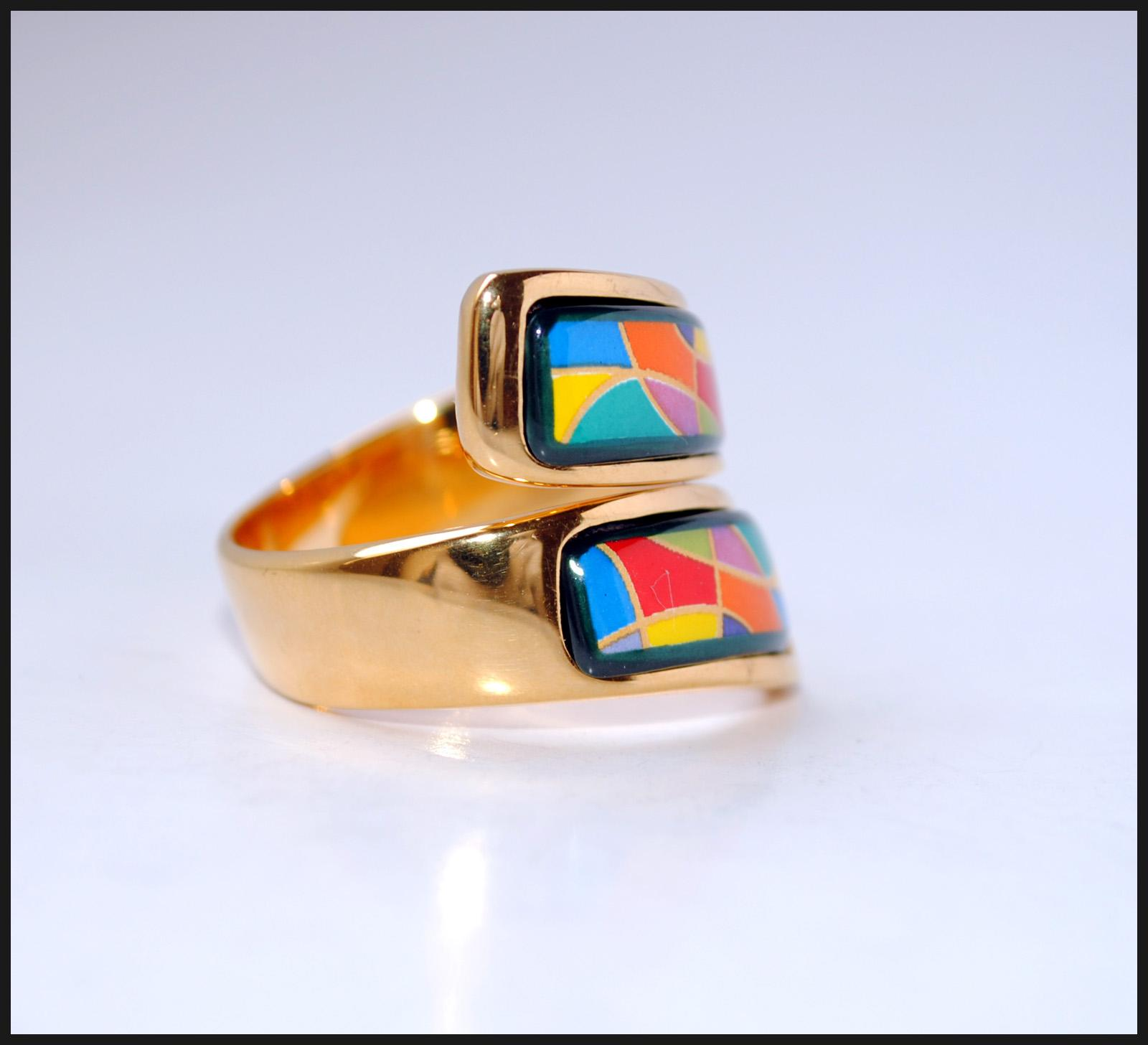 Grohandel Enjoy Life Series 18K Vergoldete Emaille Ringe Top Qualitt Doppelt Gebogenen Ring