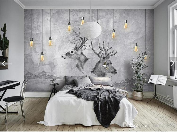 3d Wallpaper For Bedroom Price European 3d Abstract Grey Elk Animal Photo Wallpaper Wall