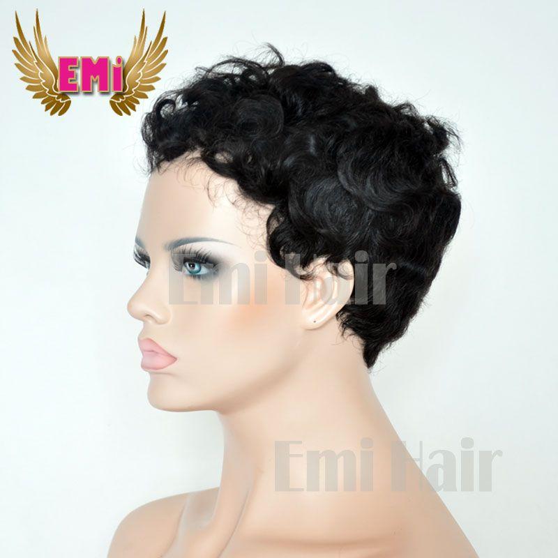 Short Human Hair Wig Tight Curly Pixie Cut Wigs Brazilian