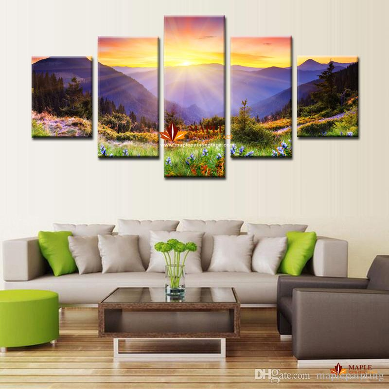 large canvas art for living room chocolate brown and red 2019 huge hd print modern abstract oil painting on sunrise scenery wall pictures cheap from maplepainting