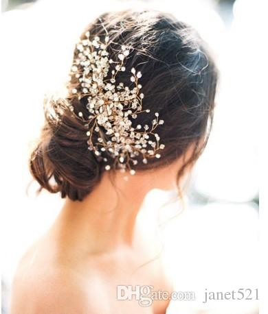 2019 pretty wedding bridal hair accessories rhinestone crystal womens party head pieces bridal hair comb events hair decoration accessories from janet521